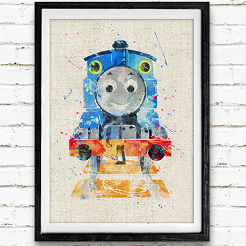 Thomas & Friends Poster, Thomas Train Watercolor Print, Kids Wall Art, Minimalist Home Decor, Not Framed, Buy 2 Get 1 Free!