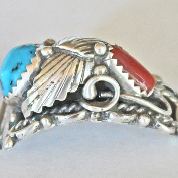 Turquoise Coral SS Vintage Native American Signed by SeventhChild
