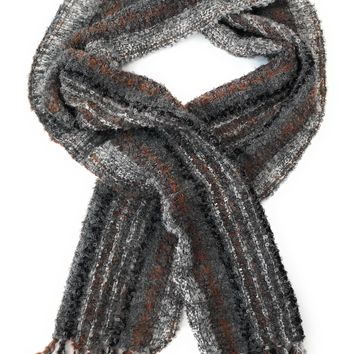 Luxury Alpaca boucle scarf. 90% Alpaca. Charcoal with Silver, Cream, Brown and Black stripes.