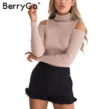 BerryGo Turtleneck cold shoulder pink knitted sweater Women casual cotton striped pullover Female elegant autumn winter jumper