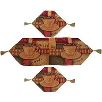 DaDa Bedding Set of 3 Smell of Coffee Cup Tapestry Cloth Table Runners (9912)