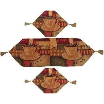DaDa Bedding Set of Three Smell of Coffee Latte Java Cup Tapestry Place Mat Table Runner - 3-Pieces