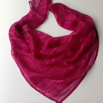 Magenta Silk square shawl, Gift for Girlfriend, Pretty Gift for coworker, Sister in law, Mother Gift Sparkle Festive