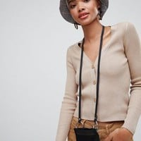 Stradivarius ribbed jersey cardigan - EXCLUSIVE at asos.com