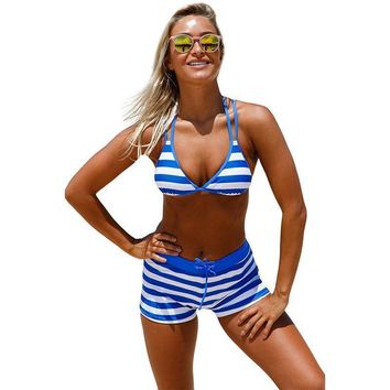 New Sexy Bikinis women swimwear 2pcs short pant +top stripes Chambray Cottage Halter Bathing Suit Bikini