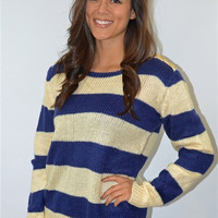 Stripe Sweater with Button Shoulder (Navy)
