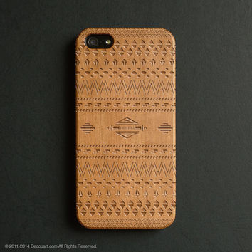 Real wood engraved aztec pattern iPhone case S042