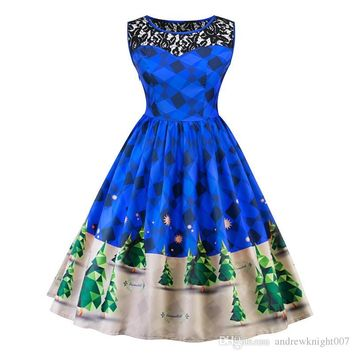 New Tree Print Lace Vintage Dress Plus Size Sleeveless Women Christmas Party Dresses Retro 50s 60s Vestidos Red Green Blue Purple DK4116SY
