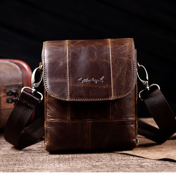 Genuine Leather Men's Mini Cross Body Bag