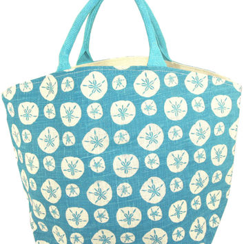 Colorful Seascape Burlap Jute Tote Town City Beach Bag - Aqua Sand Dollar