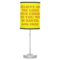 Bible verse from Acts 16:31. Desk Lamp