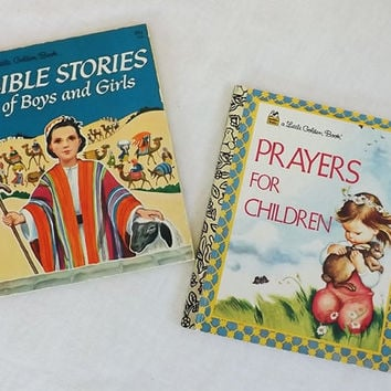 Vintage Little Golden Books Bible Stories and Prayers