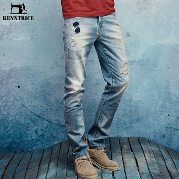 Vintage Hole Patch Jeans Fashion Blue Ripped Denim Jeans Pants Slim Fit Distressed Denim Male Cropped White Trousers