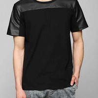 Charles & 1/2 Faux-Leather Block Tee- Black XL