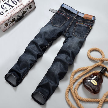 2016 Autumn Winter More Thick and warm  men jeans straight slim casual mens jeans men pants cotton men clothing trousers 2018