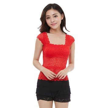 womans tops summer casual Sexy Lace Padded Bra Bustier Vest Crop Top Tank Tops  blusa de vero