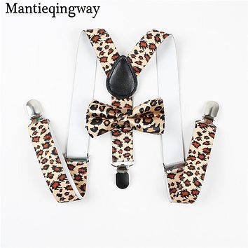 Baby Suspenders Bow Tie Sets Fashion Kids Braces 3 Clips Boy Suspenders Wedding Bow Tie Suspenders Elastic Strap