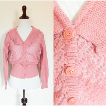 70s vintage pink cardigan / 70s does 30s 40s knit sweater / Long sleeve mauve button down fall winter size medium