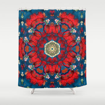 mandala 10 red blue #mandala Shower Curtain by Lionmixart