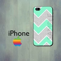 Mint Glitter Chevron iPhone Case  iPhone 4 Case by thecasefactory