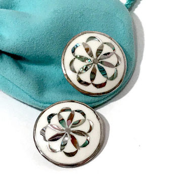 Mexican Alpaca Silver Earrings  White Enamel Button Clip On Earrings  Abalone Shell Inlay  Looped Ribbon Swirl Design 1970s Vintage Earrings