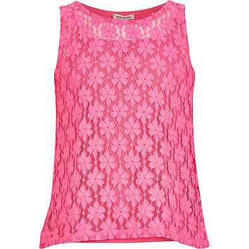 River Island Girls bright pink lace split back top