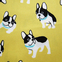 Life With Pugs on Yellow - Japanese Oxford Cotton Fabric -  Half Yard