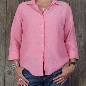LL Bean Pink Linen Blouse L size Womens Casual Top Spring Summer