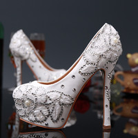 Pure White Lace Appliqued Stiletto Heel Bridal Shoes-Milanblocks