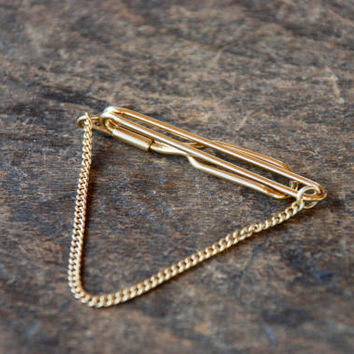 Vintage Tie Chain Tie Bar Tie Clip 12K Yellow Gold Filled Wedding Bridal Groomsman Mid Century 1950's // Vintage Mens Accessories