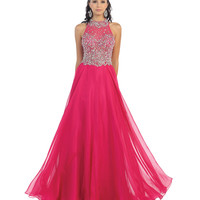 Fuchsia Beaded Halter Ball Gown 2015 Prom Dresses