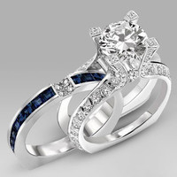 Sapphire Blue and Clear Cubic Zirconia Wedding Set White Gold Plated (HR-2550)
