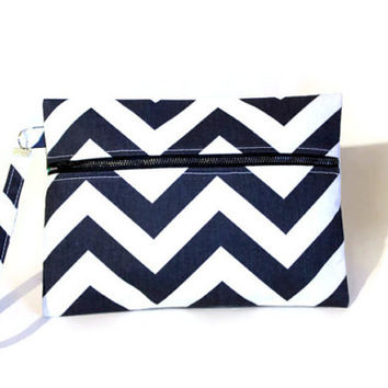 Navy blue and white chevron wristlet, small clutch, cell phone pouch, large wrist bag, purse organizer, bridesmaid bag.