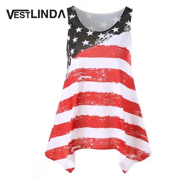 VESTLINDA American Flag Tank Top Casual Blusas Striped Tank Top Mujeres Women Clothing Feminino Camisole Tank 2017 Summer Tops