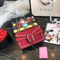 Gucci Dionysus Red Gg Bag With Crystals