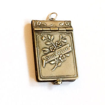Souvenir Book Locket Pendant French Silver Art Nouveau Vintage Jewelry