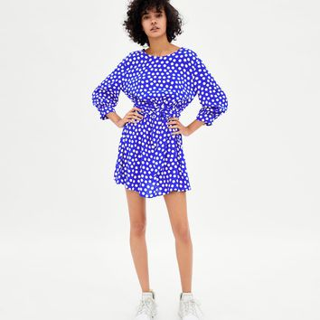 POLKA DOT DRESS WITH BELT DETAILS