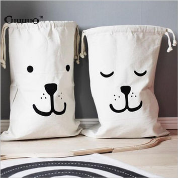 INS Large Baby Toys Storage Canvas Bags Bear Batman Laundry Hanging Drawstring Bag Cute Household Canvas Pouch Bag Wall Pocket