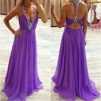 Elegant Purple Prom Dresses with Beadings