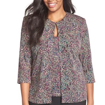 Plus Size Women's Alex Evenings Metallic Print Twinset,