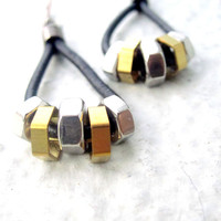 Hex Nut Earrings Dangle Earrings Mixed Metal Earrings Hardware earrings Leather Earrings