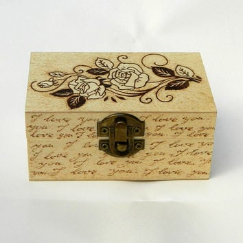 Romantic Rose unique woodburned keepsake box pyrography small wooden box