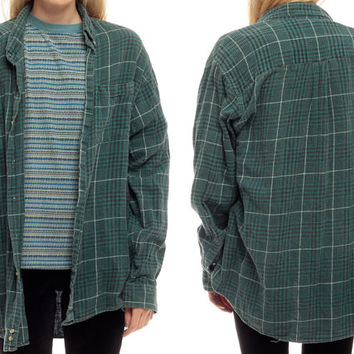 90s Plaid Shirt Green Flannel Shirt Grunge Button Up Faded Black Retro 1990s Lumberjack Vintage Men Oversize Checkered down men Small Medium