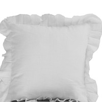 Seville Throw pillows- Pure white Pillows- White Linen Blend Ruffled Edge Pillow- 18x18- Gift- Linen Decorative Pillows-Seville Linen Pillow