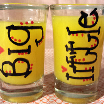 Sorority Big Little Hand Painted Set of 1.5 oz Shot Glasses