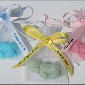 Baby Shower Soap Favors - Gender Reveal Newborn Baby Boy or Girl Custom Personalized Scented Guest Soap Favors Pack of 10