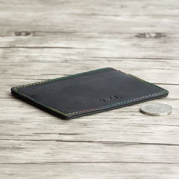 Designer Leather Slim Wallet Card holder Ultra Thin Card Slot with Colorful Thread for Men and Woman