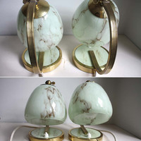 Rare Pair of 1950s Art Deco Table / Wall Lamps. Mint Green Marbled Glass Globe Shades, Brass Bases.