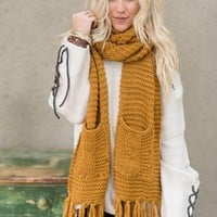 Kolby Knitted Pocket Scarf - Mustard