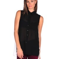 RD Style Sleeveless Color Block Blouse - Blk/Whit